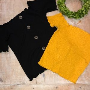 mustard yellow and black off the shoulder tops.
